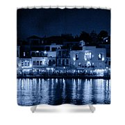 Chania By Night In Blue Shower Curtain