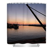Chania Harbour Shower Curtain