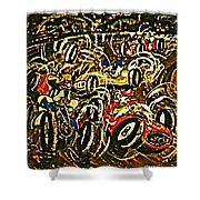 Chaos On The Track Shower Curtain