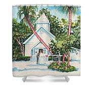 Chapel By The Sea Captiva Shower Curtain