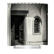Chapel In Riomaggiore Cinque Terre Italy Bw Shower Curtain
