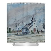 Chapel In Winter Shower Curtain