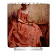 Chaplin Charles Girl In A Pink Dress Reading With A Dog Shower Curtain