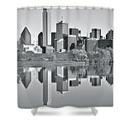 Charcoal Big D Reflection Shower Curtain