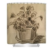 Charcoal Planter Shower Curtain
