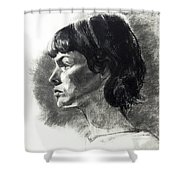 Charcoal Portrait Of A Pensive Young Woman In Profile Shower Curtain