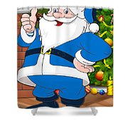 Chargers Santa Claus Shower Curtain