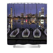 Charles River Boats Clear Water Reflection Shower Curtain