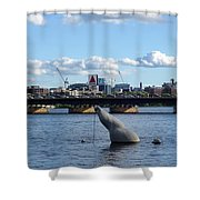 Charles River Boston Ma Crossing The Charles Citgo Sign Mass Ave Bridge Shower Curtain