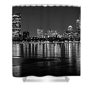 Charles River Boston Ma Prudential Lit Up Not Done New England Patriots Black And White Shower Curtain
