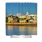 Charleston Battery Row Of Homes  Shower Curtain