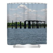 Charleston Export Coal Terminal Wooden Testle Shower Curtain