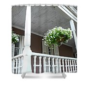 Charleston Historical District Front Porch Flowers - Charleston Homes Architecture Shower Curtain