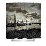 Charleston Marina Sunset In Sepia Shower Curtain
