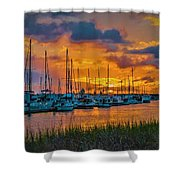 Charleston Marina Sunset  Shower Curtain