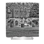 Charleston Waterfront Park Fountain Black And White Shower Curtain