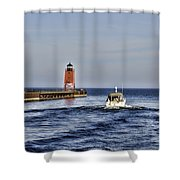 Charlevoix South Pier Light Shower Curtain