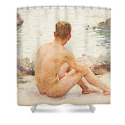 Charlie Seated On The Sand Shower Curtain
