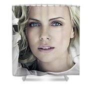 Charlize Theron Blue Eyed Blonde Blouse Celebrity Hollywood 31116 640x960 Shower Curtain