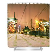 Charlotte City Skyline Night Scene With Light Rail System Lynx T Shower Curtain