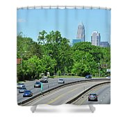 Charlotte Skyline From A Distance Shower Curtain