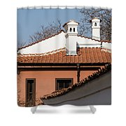 Charming Chimneys - White Stucco And Terracotta Juxtaposition Shower Curtain
