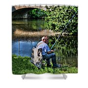 Chartres, France, A Good Day Fishing Shower Curtain