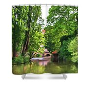Chartres, France, Park On L'eure River Shower Curtain