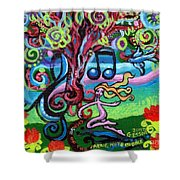 Chase Of The Faerie Note Bubble Shower Curtain