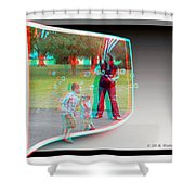 Chasing Bubbles - Use Red-cyan 3d Glasses Shower Curtain