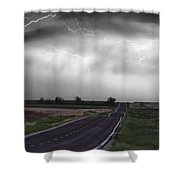 Chasing The Storm - Bw And Color Shower Curtain