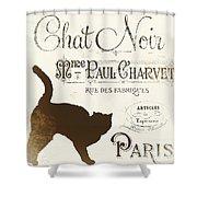 Chat Noir Paris Shower Curtain