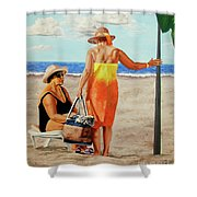Chat On The Beach - Chat En La Playa Shower Curtain