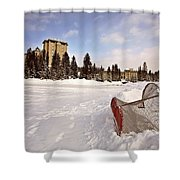 Chateau Lake Louise In Winter In Alberta Canada Shower Curtain