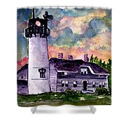 Chatham Lighthouse Martha's Vineyard Massachuestts Cape Cod Art Shower Curtain