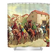 Chaucer's Pilgrims Shower Curtain by van der Syde