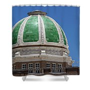 Chaves County Courthouse Green Terracotta Dome Shower Curtain