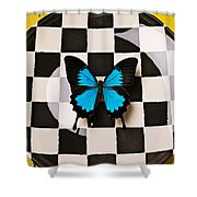 Checker Plate And Blue Butterfly Shower Curtain