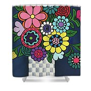 Checkered Bouquet Shower Curtain