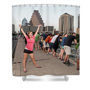 Cheerful Attractive Female Austinite Waves Her Hands With Excitement On Seeing The Austin Bats Shower Curtain