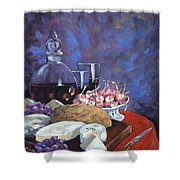 Cheese And Good Wine Shower Curtain