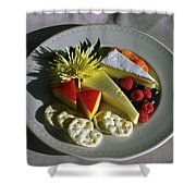 Cheese Wedges With Crackers And Fruit Shower Curtain