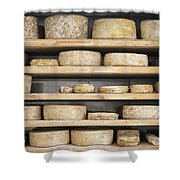 Cheese Wheels On Wooden Shelves In The Cheese Store Shower Curtain