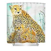 Cheetah Family Shower Curtain