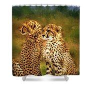 Cheetah Siblings Shower Curtain