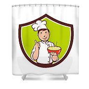 Chef Cook Bowl Pointing Crest Cartoon Shower Curtain