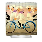 Chefs On A Bike Shower Curtain