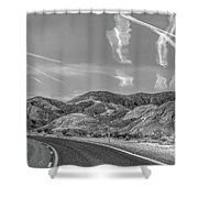 Chem Trails Over Valley Of Fire Black White  Shower Curtain