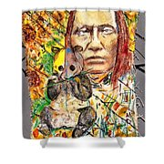 Cherokee Chief With Friend Mr.p Shower Curtain