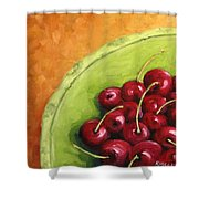 Cherries Green Plate Shower Curtain